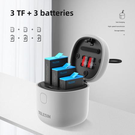 All-in Box Incarcator  & Cititor Card microSD & Cutie de pastrare pentru baterii GoPro Hero9 (fără baterie) - GP-BTR-904 [2]