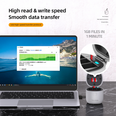 All-in Box Incarcator  & Cititor Card microSD & Cutie de pastrare pentru baterii GoPro Hero9 (fără baterie) - GP-BTR-904 [4]