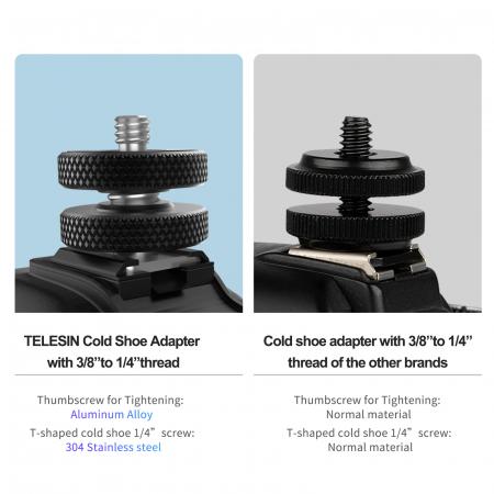 """Telesin  Adaptor pentru patina de blitz TELESIN cu filet de 3/8 """"la 1/4"""" TE-CS-001 [1]"""
