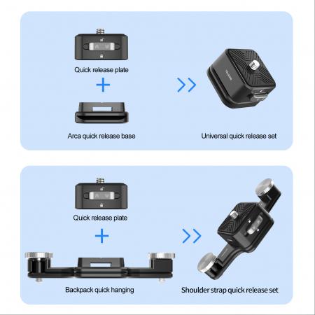 TELESIN Placă cu eliberare rapidă, din aliaj de aluminiu pentru montare pe breteaua rucsacului pentru trepied, DSLR, Camera de acțiune - TE-ZJZ-006 [6]