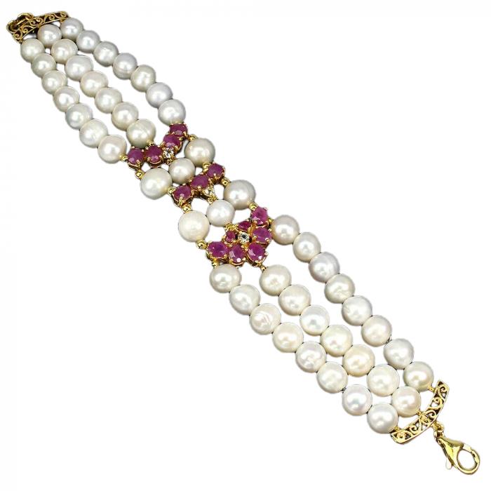 Bratara perle naturale si rubin [1]