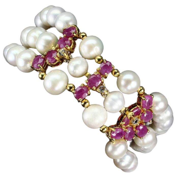 Bratara perle naturale si rubin [0]
