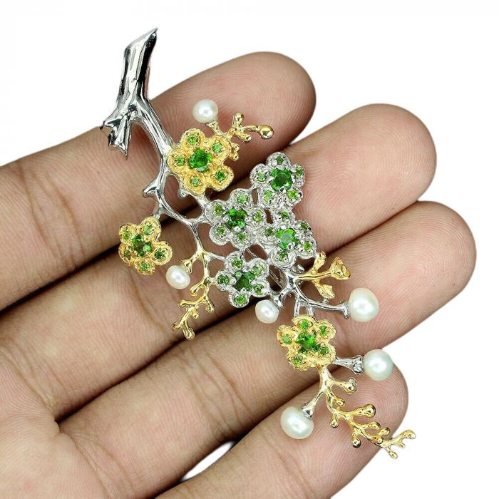 Brosa Argint diopsid și perle naturale [1]