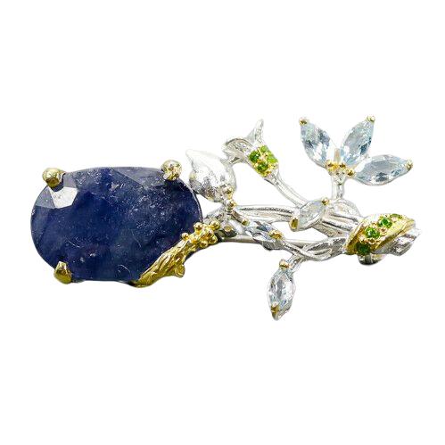 Brosa argint safir natural [0]