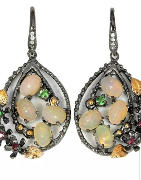 Cercei mari, Argint, rodiu negru,lucrati manual, cu pietre naturale: opal etiopian, granat si pietre pretioase de tsavorit. [0]