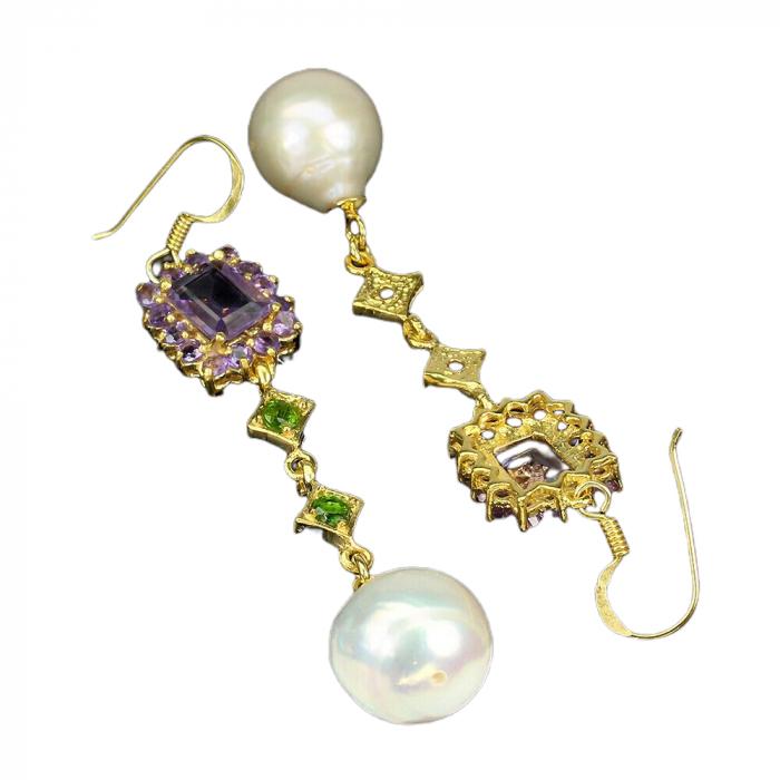 Cercei argint ametist si perle naturale [1]