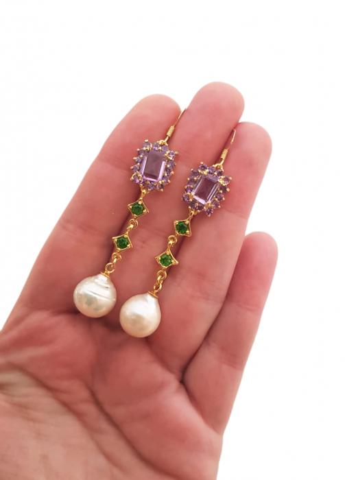 Cercei argint ametist si perle naturale [2]