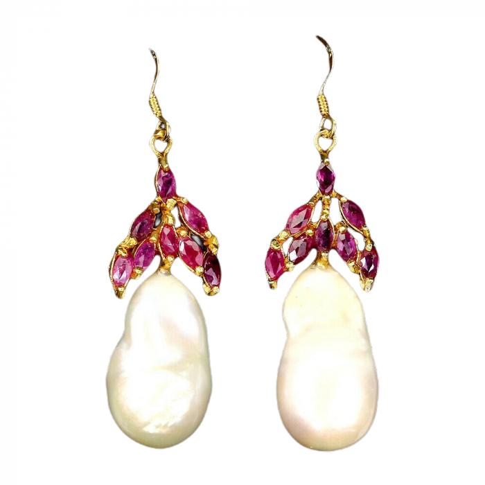 Cercei argint rubin perla [0]