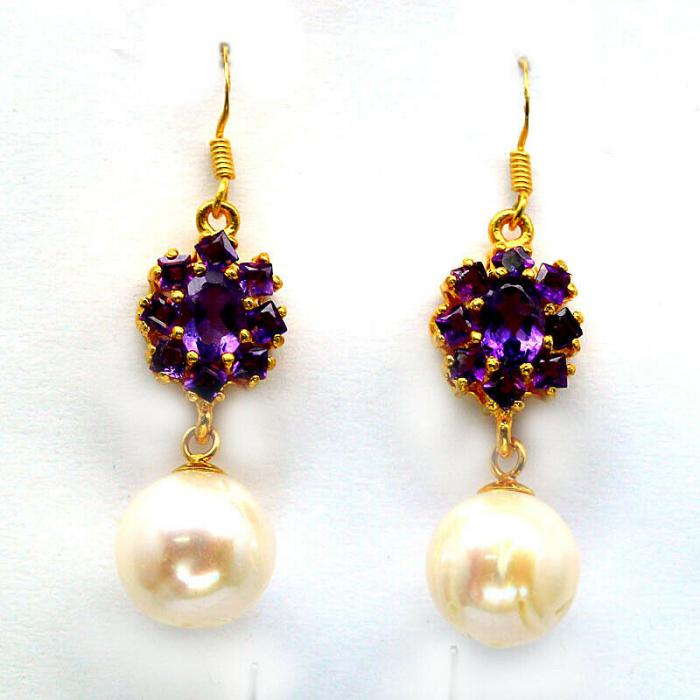 Cercei argint perle si ametist [0]
