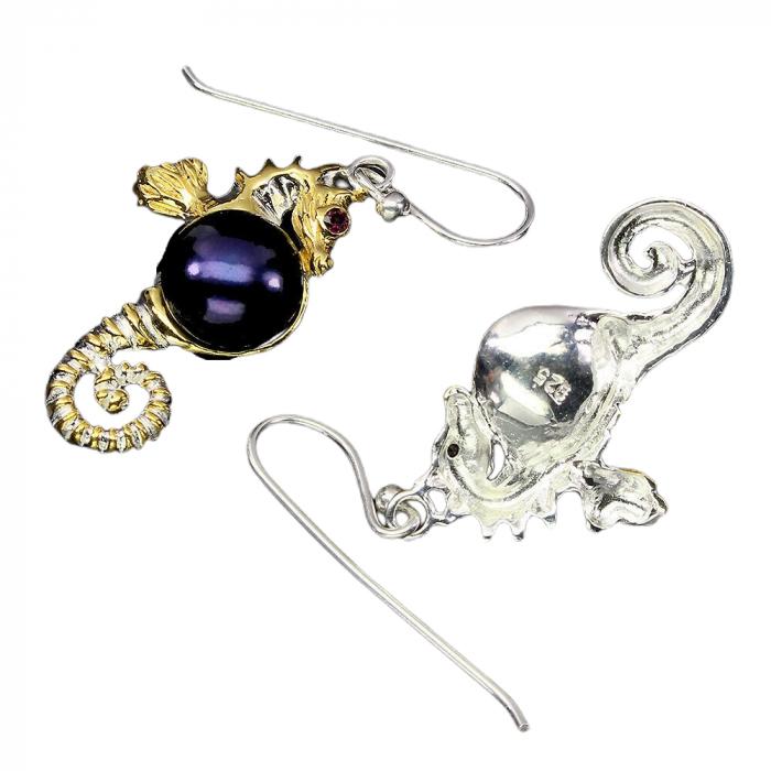 Cercei argint perle si granat [1]
