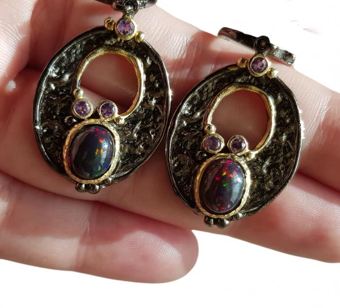 Cercei argint opal negru [3]
