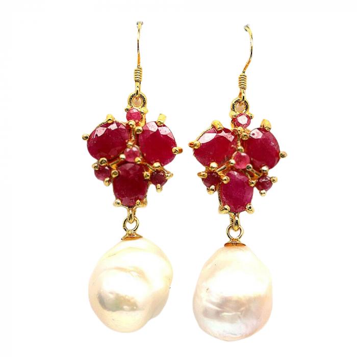 Cercei argint perla rubin [0]