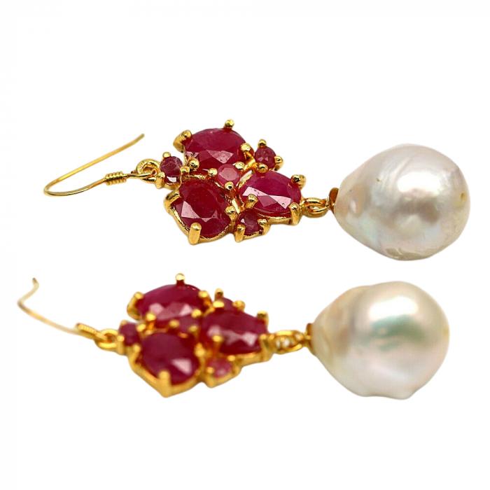 Cercei argint perla rubin [1]