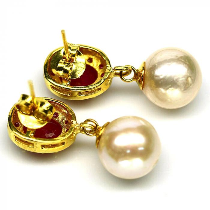 Cercei argint perle rubin [2]