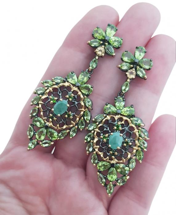 Cercei argint smarald handmade [2]
