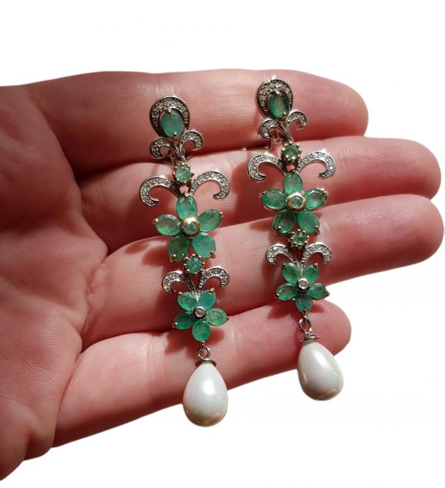 Cercei argint smarald natural [3]