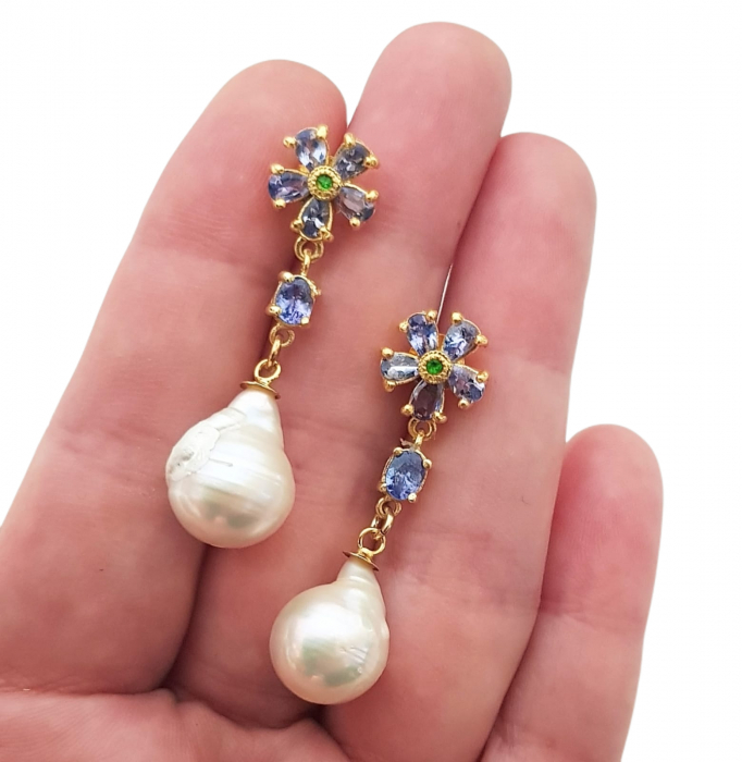 Cercei argint tanzanit crom-diopsid perla [2]