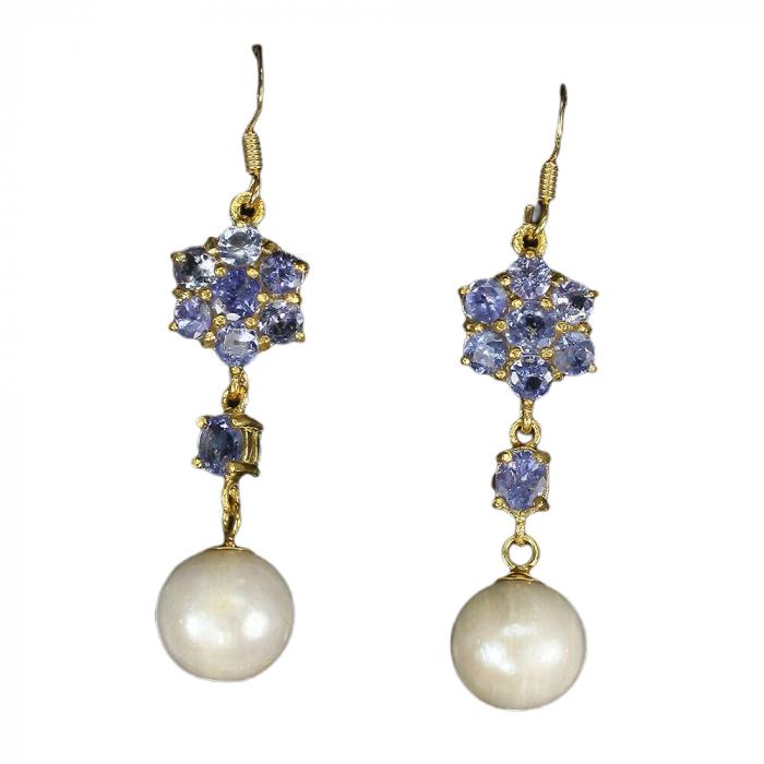 Cercei tanzanit perla [0]