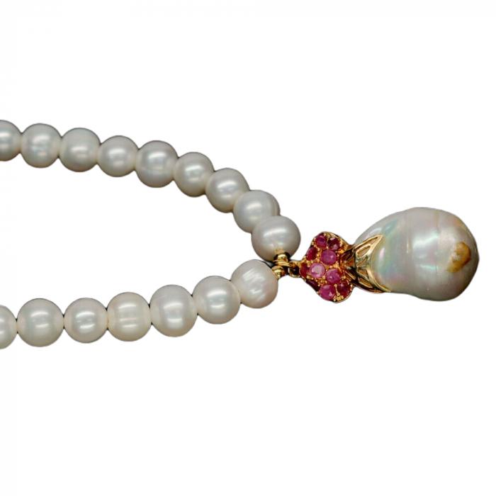 Colier perle naturale si rubin [1]