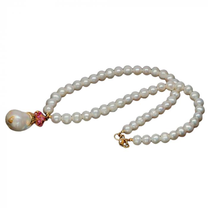 Colier perle naturale si rubin [2]