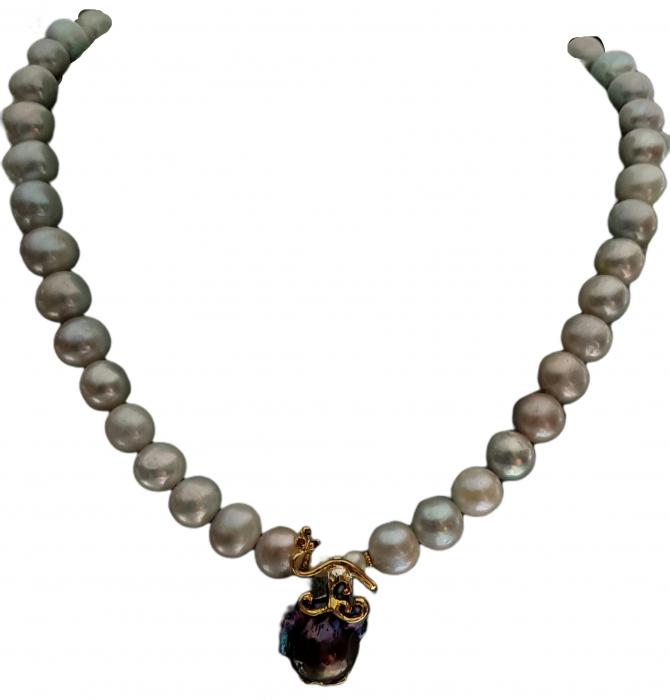 Colier argint perle  baroce [0]