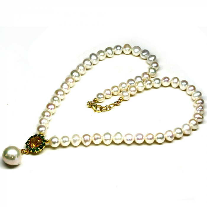 Colier perle naturale si citrin [1]
