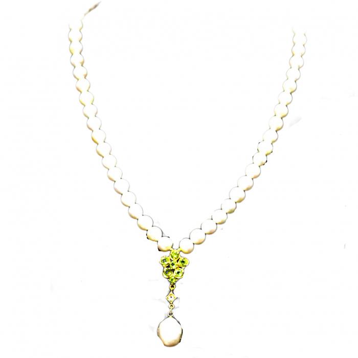 Colier argint perle peridot [0]
