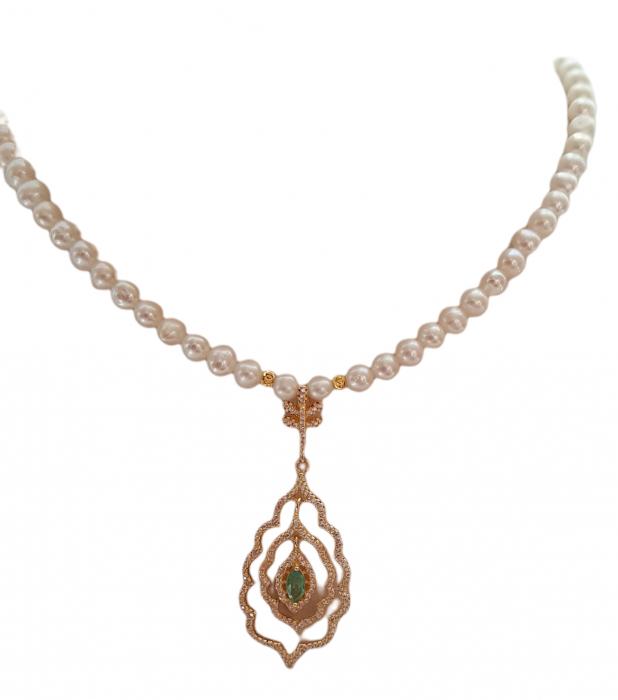Colier argint perle smarald [0]
