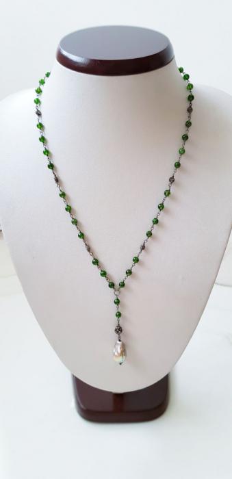 Colier cu pietre semipretioase naturale: crom-diopsid si perla naturala flameball( foarte frumos irizata) 3