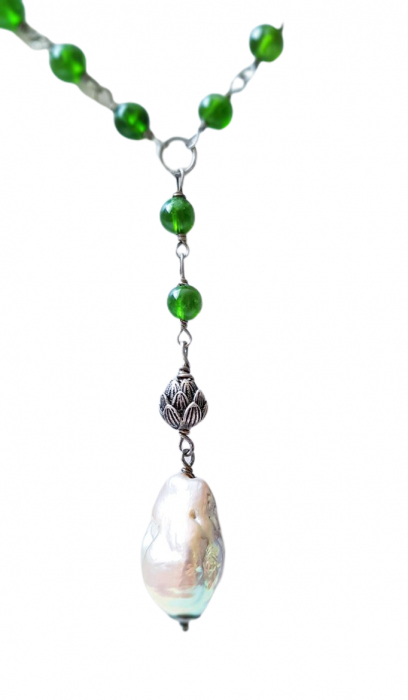 Colier cu pietre semipretioase naturale: crom-diopsid si perla naturala flameball( foarte frumos irizata) 0