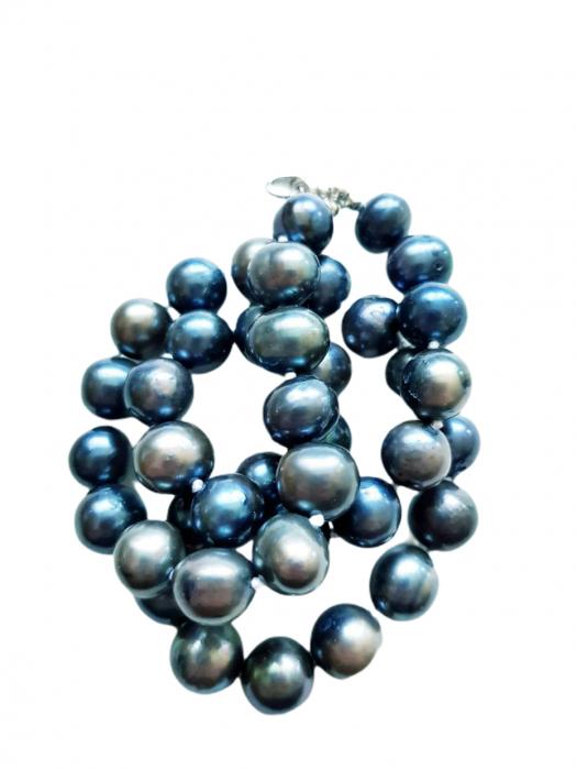 Colier cu perle naturale negre 2