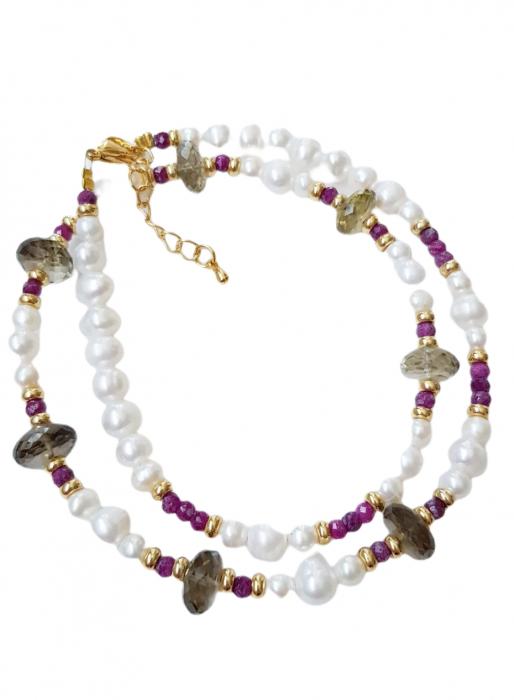 Colier cu pietre semipretioase cuarț, rubin si perle [0]