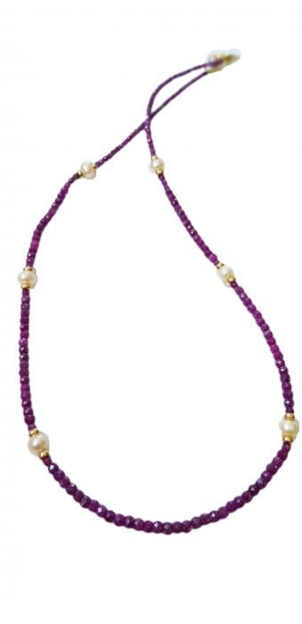 Colier cu rubin natural si perle [0]