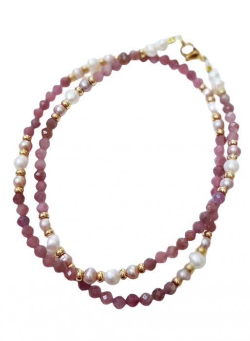 Colier cu safir roz(corundum) si perle 1