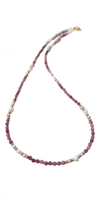 Colier cu safir roz(corundum) si perle 0