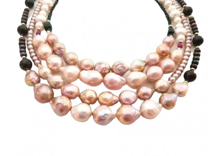 Colier perle Kasumi si granat 4