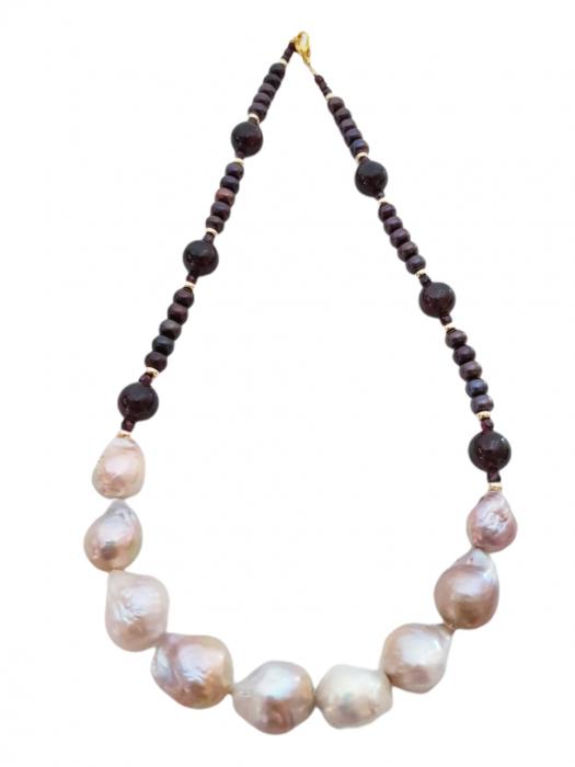 Colier perle Kasumi si granat 0