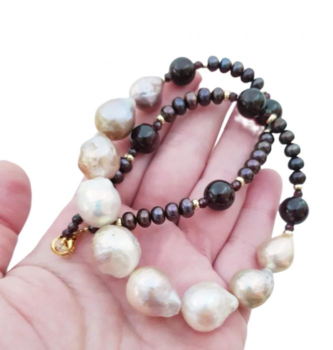 Colier perle Kasumi si granat 3