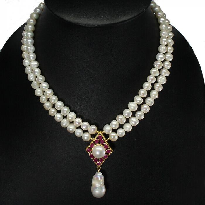 Colier perle naturale si rubin [0]