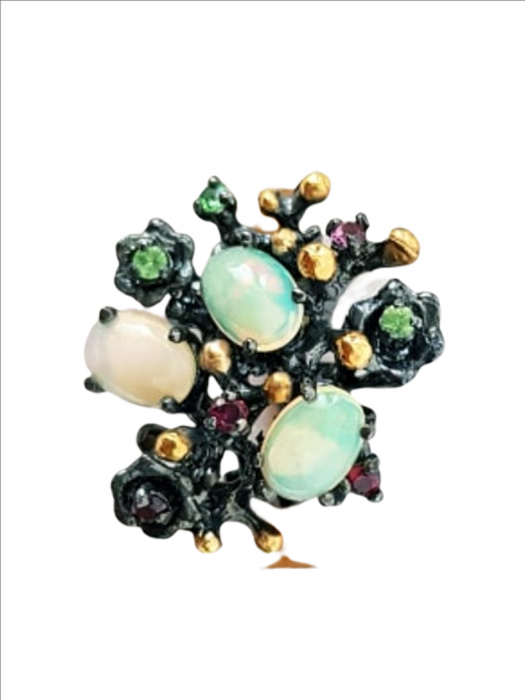Inel Argint cu pietre semipretioase opal, granat [0]