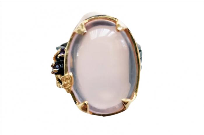 Inel argint cuarț roz [0]