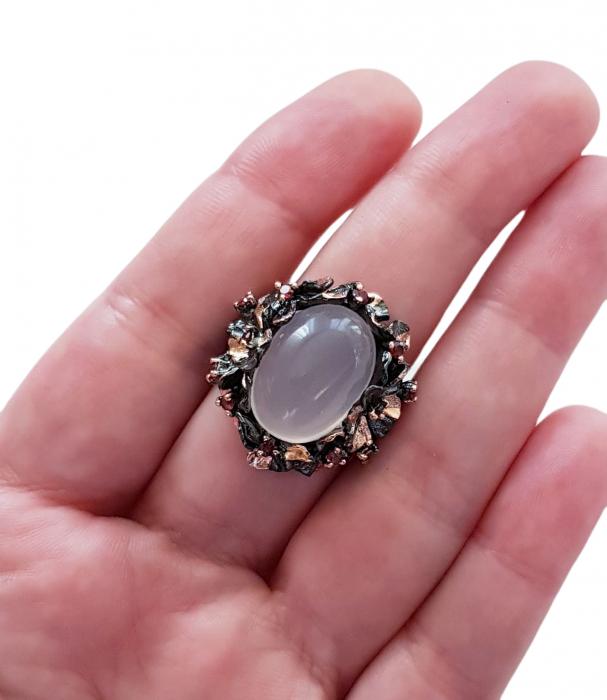 Inel argint cuart roz [2]