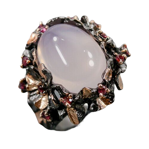 Inel argint cuart roz [0]