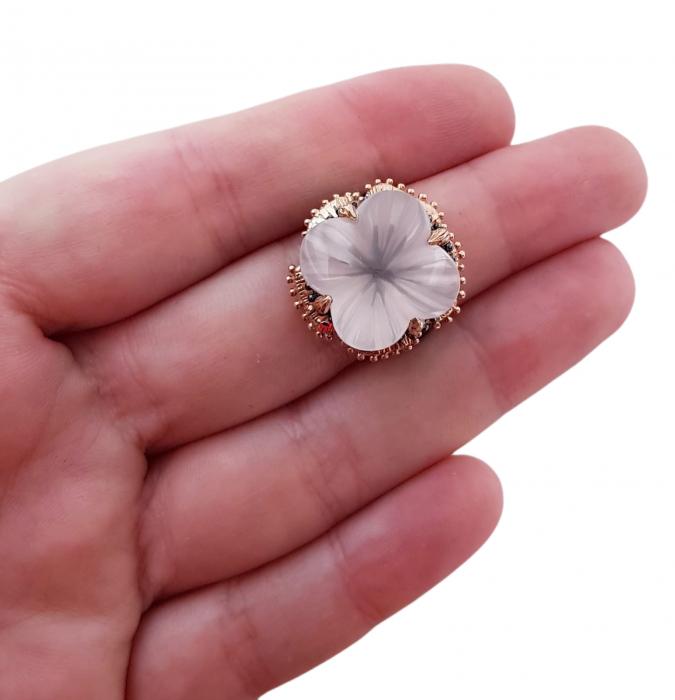 Inel argint cuart roz [3]