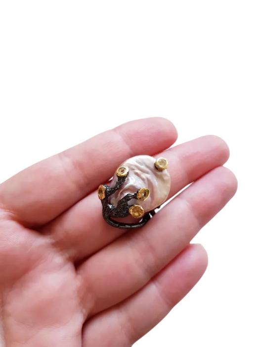 Inel argint perlă naturală barocă [2]