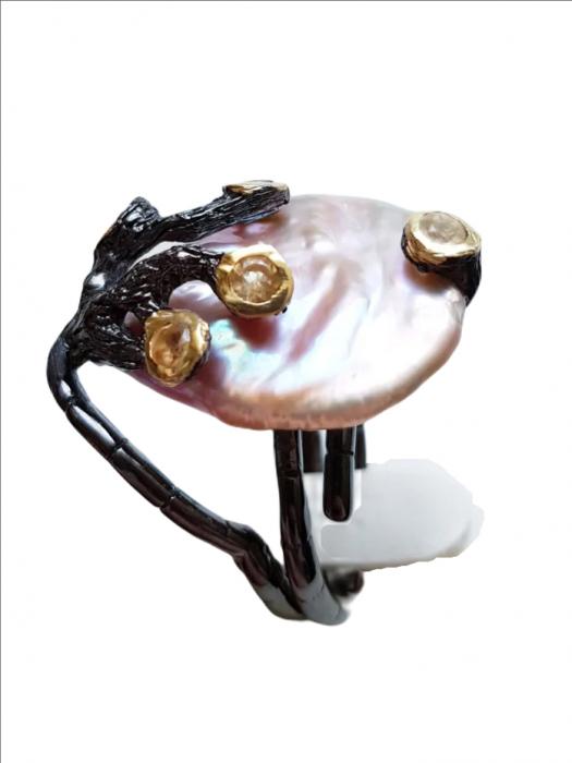 Inel argint perlă naturală barocă [1]