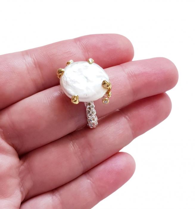 Inel argint perla baroca [2]
