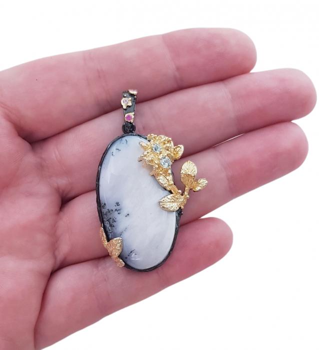 Pandantiv argint opal dendritic [2]