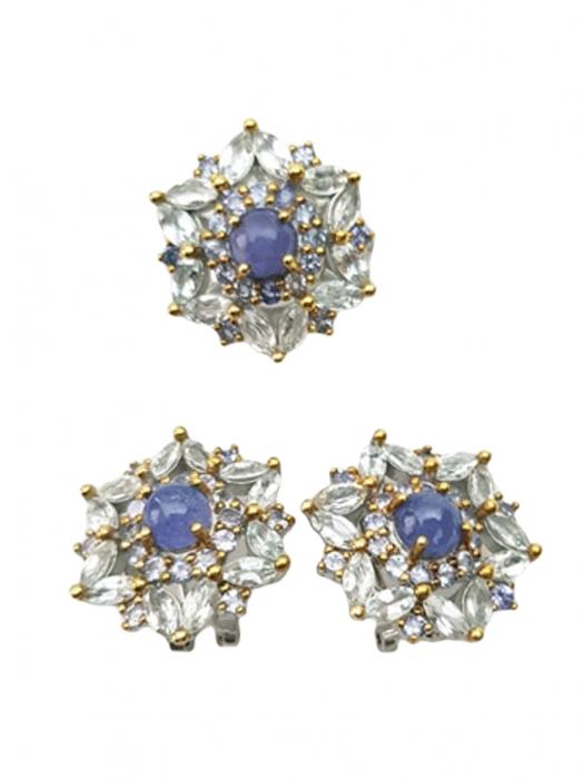 Set cercei si inel de mari dimensiuni , Argint 925, lucrat manual, aurit cu aur alb si galben, cu pietre naturale: acvamarin si tanzanit. [1]