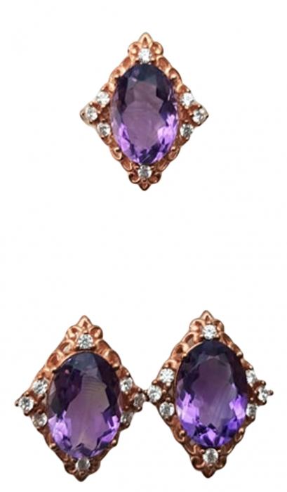 Set cercei si inel , Argint 925, lucrat manual, aurit cu aur roz, cu pietre naturale: ametist;cz. [1]